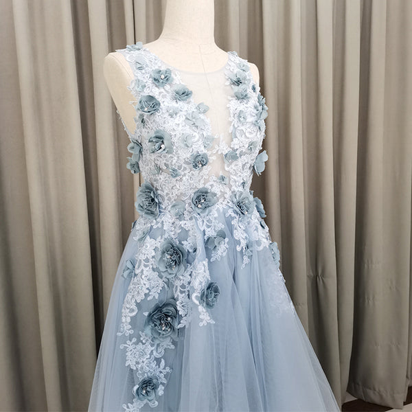 Light Blue Tulle Flowers High Low New Party Dress 2020, Blue Prom Dress
