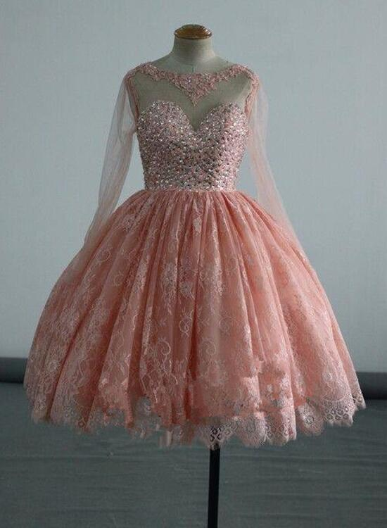 Pink Long Sleeves Homecoming Dresses Lace And Beaded Party Dress Short Formal Dress