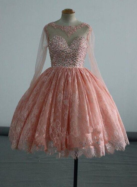 Pink Long Sleeves Homecoming Dresses, Lace and Beaded Party Dress, Short Formal Dress