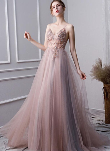 Pink Beaded High Slit Tulle V-neckline Long Party Dress, A-line Tulle New Prom Dress Evening Dress