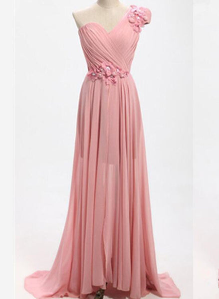 Pink One Shoulder Bridesmaid Dresses, Floor Length Prom Dresses, Wedding Party Dresses