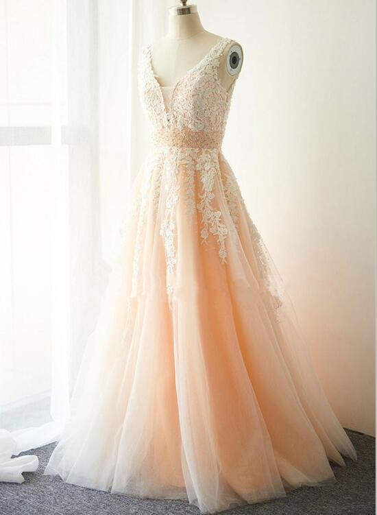 Pink Tulle and Applique Elegant Prom Dress 2018, Pink Gowns, Prom ...
