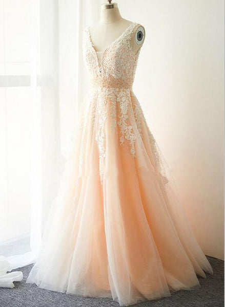 Pink Tulle and Applique Elegant Prom Dress 2018, Pink Gowns, Prom Gowns 2018