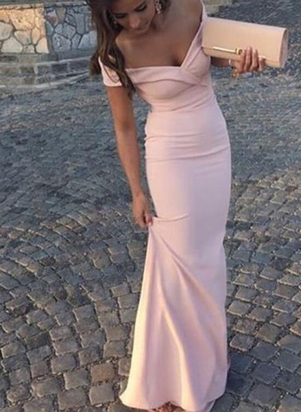Prom Dress 2018, Pink Off Shoulder Party Dress, Spandex Formal Gowns