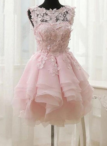 Pink Lace and Chiffon Short Layered Party Dresses, Sweet Formal Dresses, Homecoming Dresses