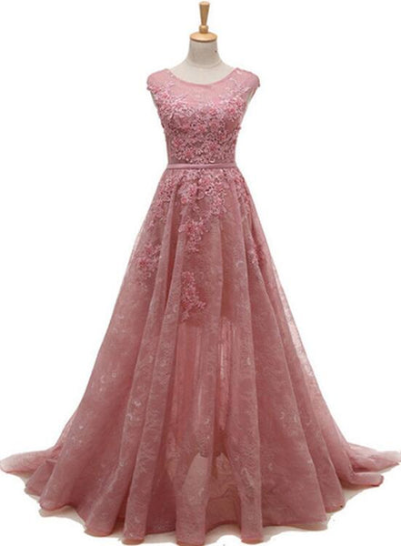 Pink Lace Prom Dresses 2018, Pink Party Gowns, Prom Dresses 2018