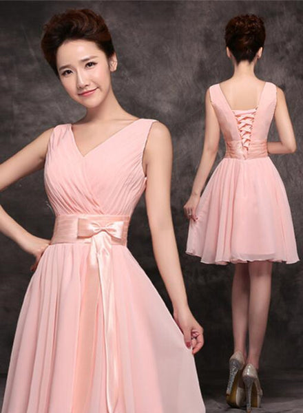 Lovely Pink Party Dress with Bow, Chiffon Cute Formal Dress, Simple Party Dress 2018