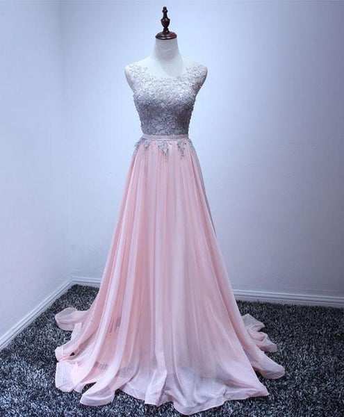 Pink Chiffon Party Dress with Grey Lace Applique, Lovely Pink Party Dresses, Pink Evening Gowns