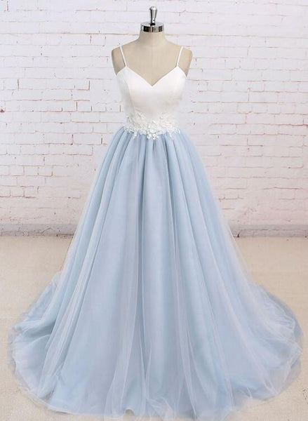 Blue Straps Sweetheart Long Formal Dresses, Prom Dresses, Elegant Evening Gowns