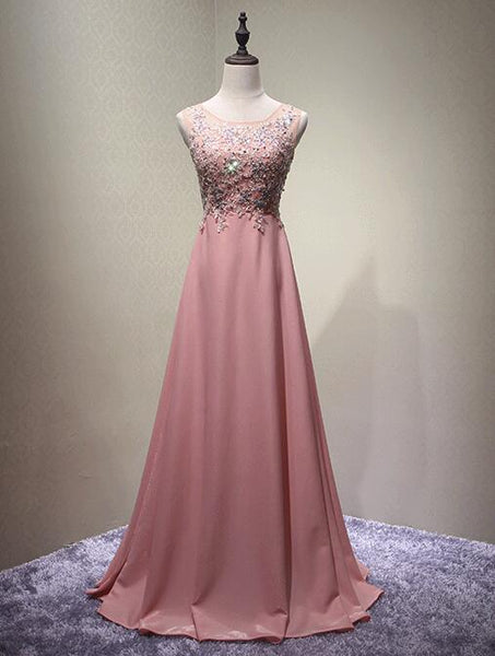 Pink Round Neckline Chiffon and Beaded Party Dresses 2019, Long Formal Dresses