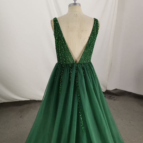 Dark Green Tulle V-neckline Long Party Dress, Green Formal Gown