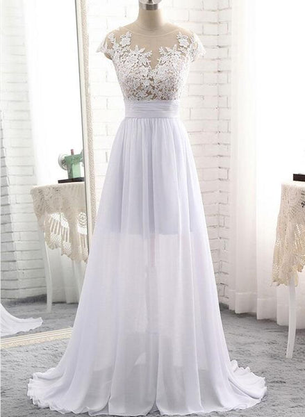Beautiful White Simple Pretty Lace Applique Party Dress, White Prom Dress, Prom Dress 2018