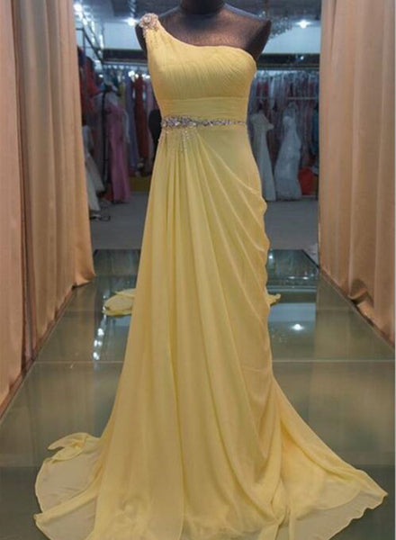 Yellow Prom Dress, Chiffon Party Dress, Floor Length Party Gowns