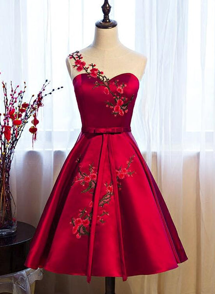 Red Satin Short Formal Dresses, Lovely Party Dresses, Cute Party Dress 2019