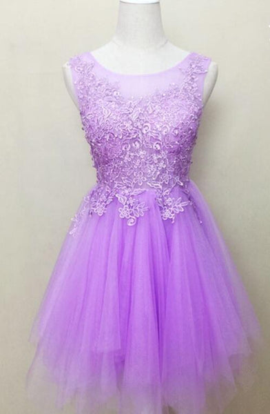 Cute Scoop Neck Tulle with Pearl Detailing Short/Mini Graduation Dresses, Homecoming Dress
