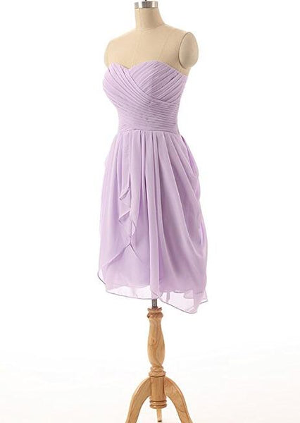 Short Simple Chiffon Bridesmaid Dresses, Sweetheart Bridesmaid Dresses, Wedding Party Dresses
