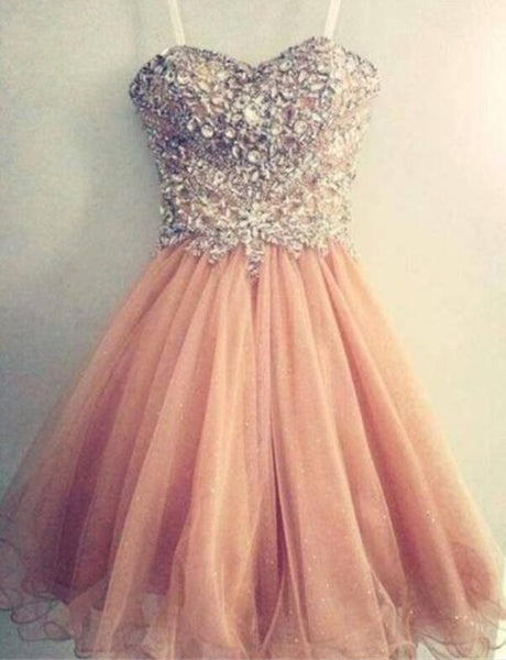 Pearl Pink Lovely Sparkle Prom Dresses, Homecoming Dresses 2018, Party Dresses for Teen