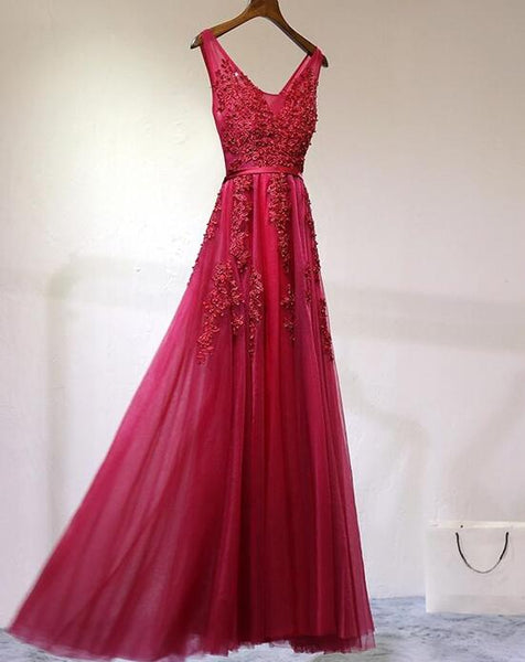 Charming Tulle Prom Dresses 2018, Dark Red Formal Dresses, Evening Party Dresses