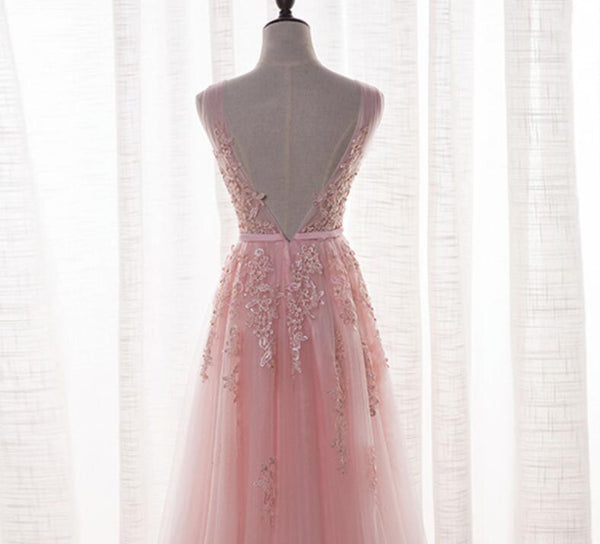 Pink Tulle and Appliques Long Prom Dresses, Pink Tulle Party Dresses, Bridesmaid Dresses