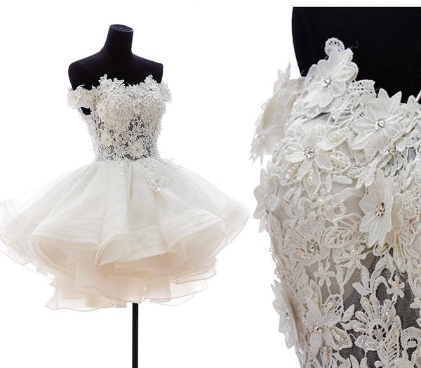 White Lovely Applique Party Dresses, Charming Formal Dresses, Homecoming Dresses