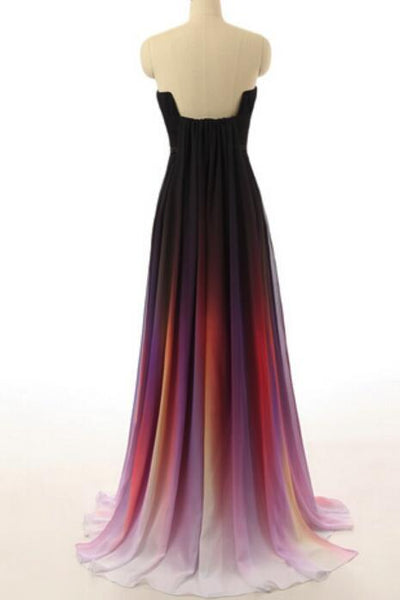 Gradient Long Chiffon Prom Dress 2018, Charming A-line Formal Dress, Party Gowns