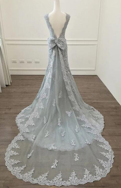 Grey Lace Mermaid Charming Party Gowns, Formal Gowns, Wedding Party Dresses