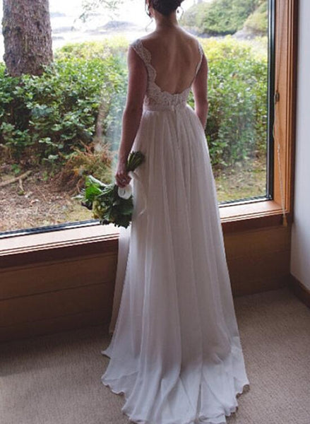 Simple Lace and Chiffon Long Bridal Gown, Wedding Party Dress, Formal Dresses