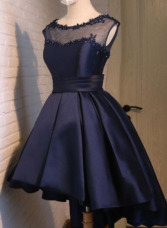 Navy Blue High Low Homecoming Dresses Lovely Teen Formal Dress
