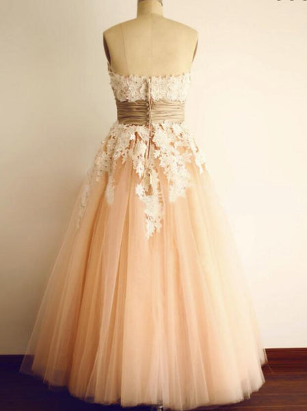 Pearl Pink Tulle Strapless Sleeveless Ankle-Length Tulle Prom Dress with Appliques, Charming Tulle Gowns
