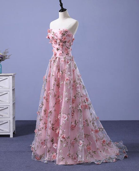 Beautiful Light Pink Flowers Romantic Long Formal Gowns, Flowers Party Dress, Prom Dress