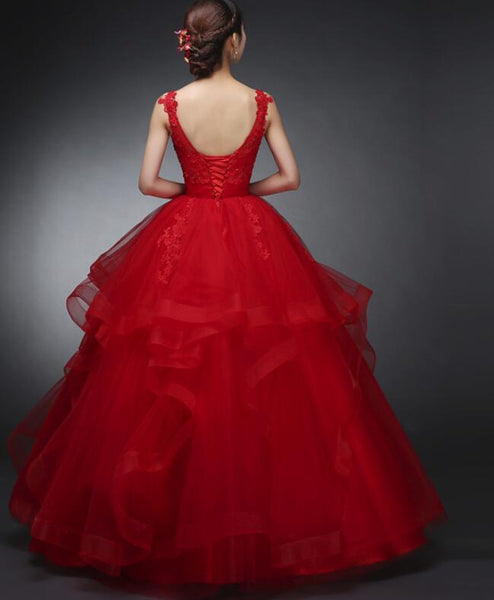 Beautiful Red Tulle Round Neckline Party Gowns, Red Formal Dress, Prom Gowns