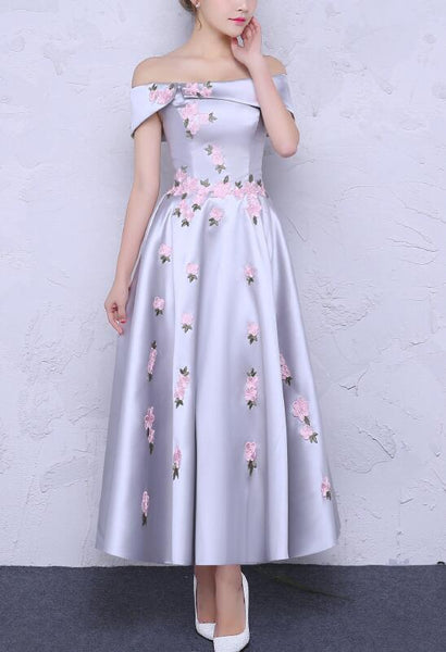 Charming Beautiful Satin with Flowers Elegant Party Dress, Formal Dress, Long Party Dress