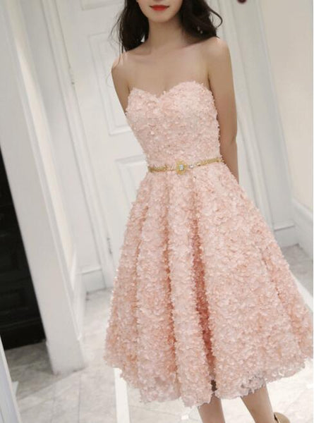 Cute Pink Floral Lace Short Sweetheart Romantic Party Dress, Teen Formal Dress 2018