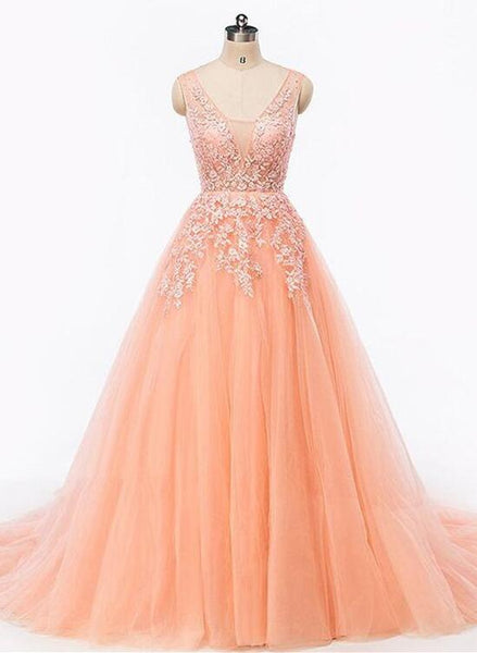 Pearl Pink Tulle V-neckline Formal Gowns, Elegant Party Dress 2018, Lace-up Formal Dresses