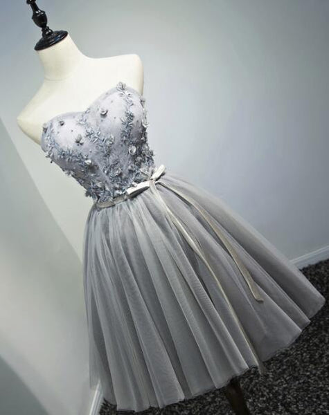 Lovely Tulle Short Grey Tulle  Lace Up Short Dresses Homecoming With Applique, Teen Party Dress, Woman Formal Dresses
