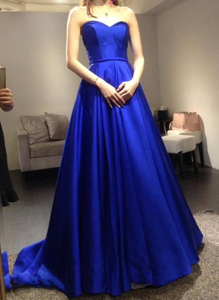 Sweetheart Pretty Royal Blue Satin Long Formal Gowns, Blue Prom Dresses 2019
