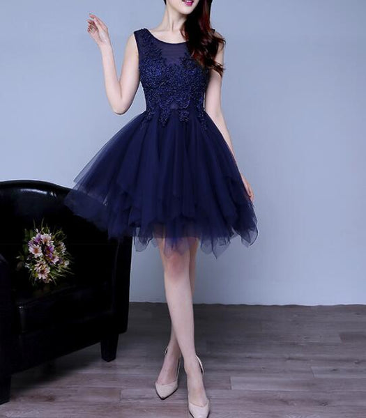 Navy Blue Tulle Fashion Cute Homecoming Dresses, Blue Party Dresses, Formal Dresses 2019