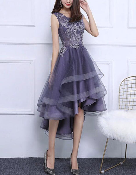 Grey-Purple High Low Round Neckline Party Dresses, Cute Party Dresses in Stock