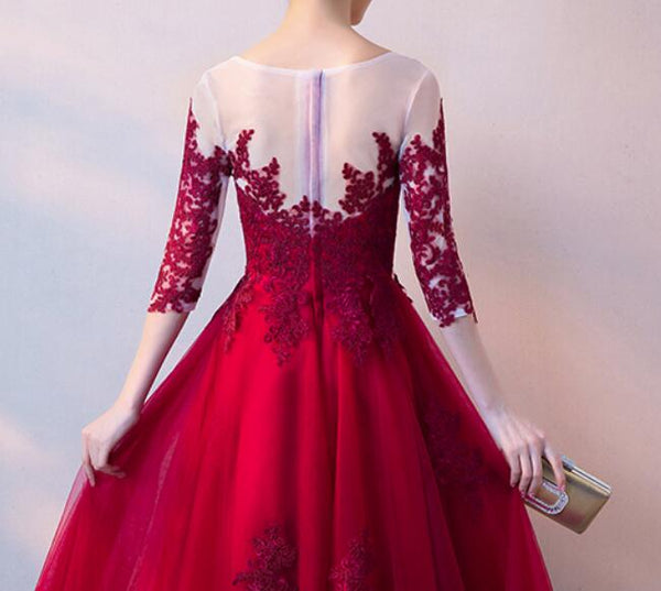 Beautiful Tulle 1/2 Sleeves with Applique Tea Length Formal Dress, Charming Party Gown