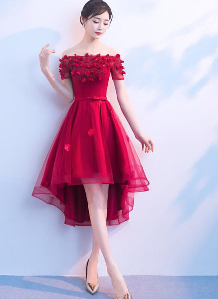 Beautiful Red High Low Off Shoulder Party Dress, Red Homecoming Dresses 2019
