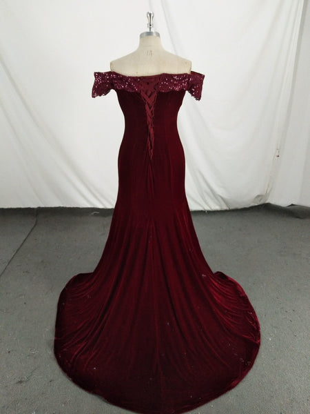 Beautiful Velvet Mermaid Long Evening Dress, Elegant Formal Gown 2019
