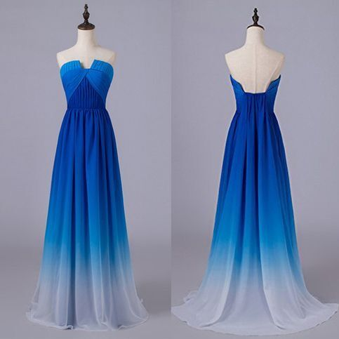 Beautiful Blue Gradient Long Chiffon Party Dress, A-line Junior Prom Dress