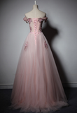 Long Pink Off Handmade Prom Dress, Senior Prom Dress 2020
