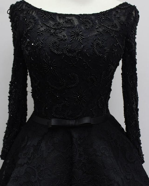 Fashionable Long Sleeves Lace High Low Beaded Prom Dress, New Party Dress