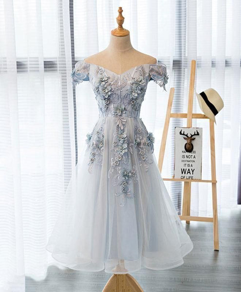Beautiful Light Grey Flowers Tea Length Party Dress, Short Prom Dress 2020