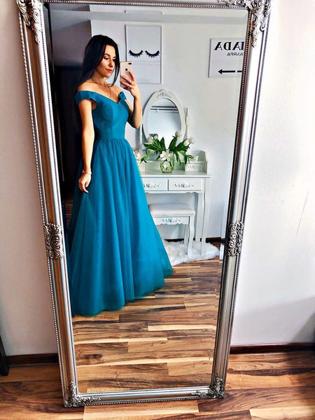 Blue Off Shoulder Tulle Handmade Prom Dress, A-line Party Dress