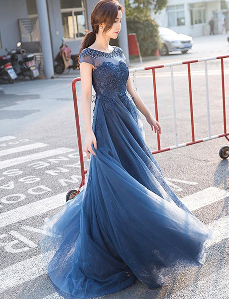 Blue Lace Cap Sleeves Long Evening Dress, A-line Backless Prom Dress