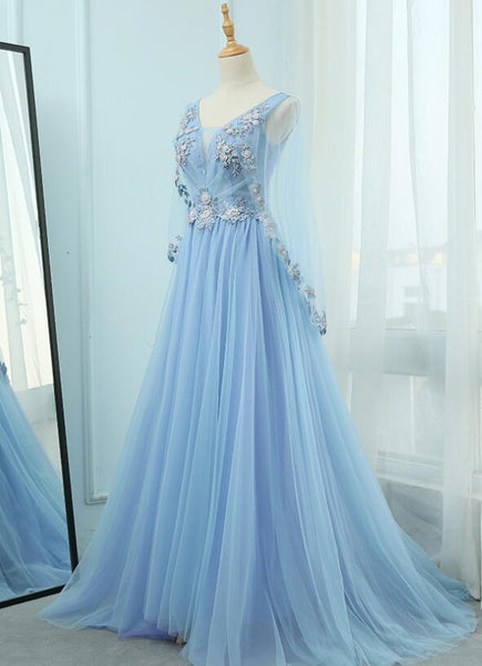 Beautiful Tulle Light Blue Floor Length Prom Dress, New Party Dress 2021