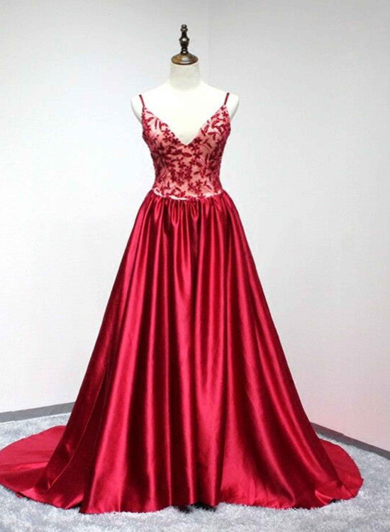 f4cddd37f0b5 Red Satin V-neckline Straps Lace Applique Long Prom Dress 2019, Red Formal  Gowns