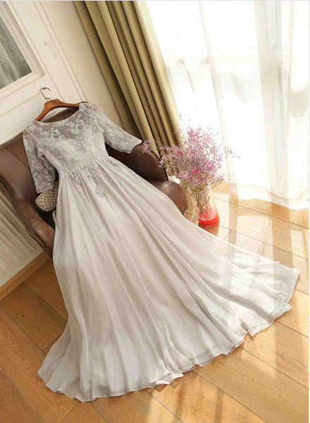 Light Grey Beautiful Applique Long Chiffon Wedding Party Dress, Cute Backless Formal Gown